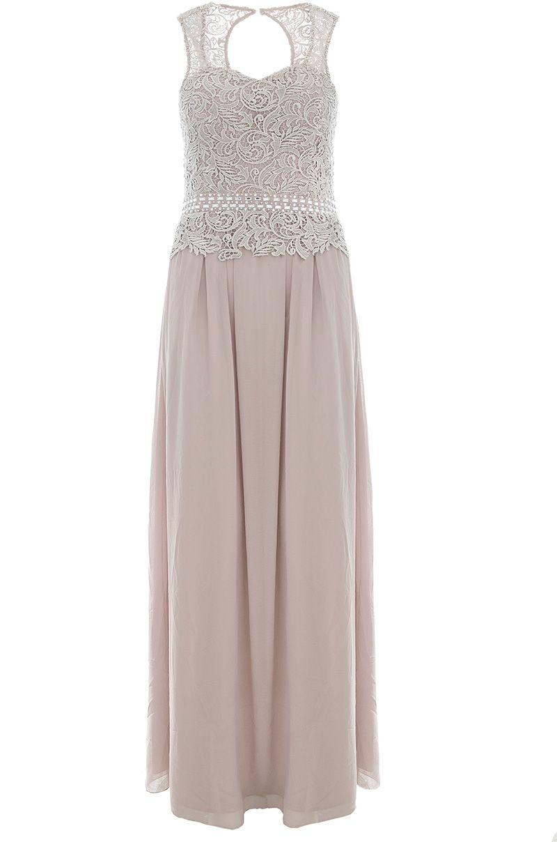 Lyst Quiz Mocha Lace Sweetheart Maxi Dress In Purple