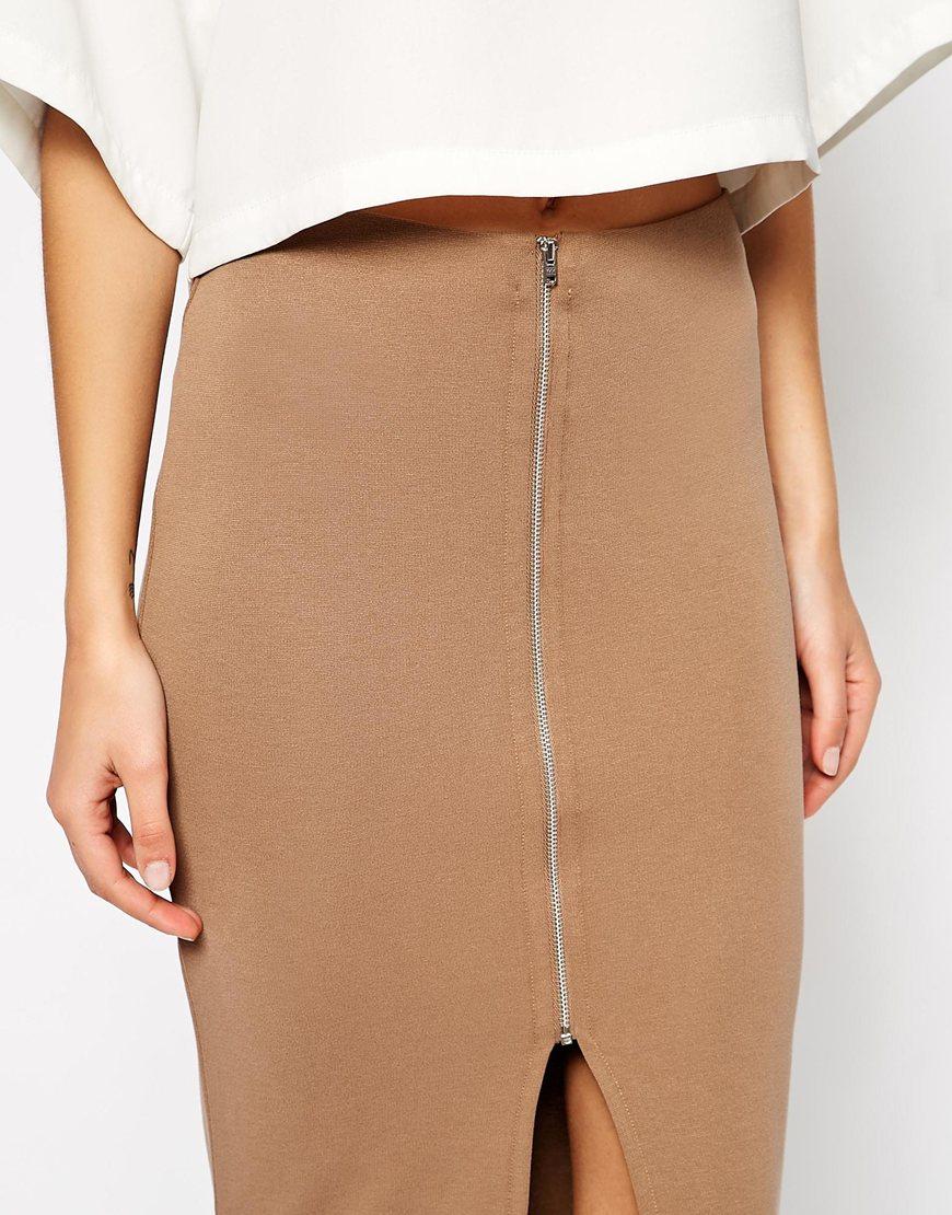 asos longline pencil skirt in ponte with zip front in