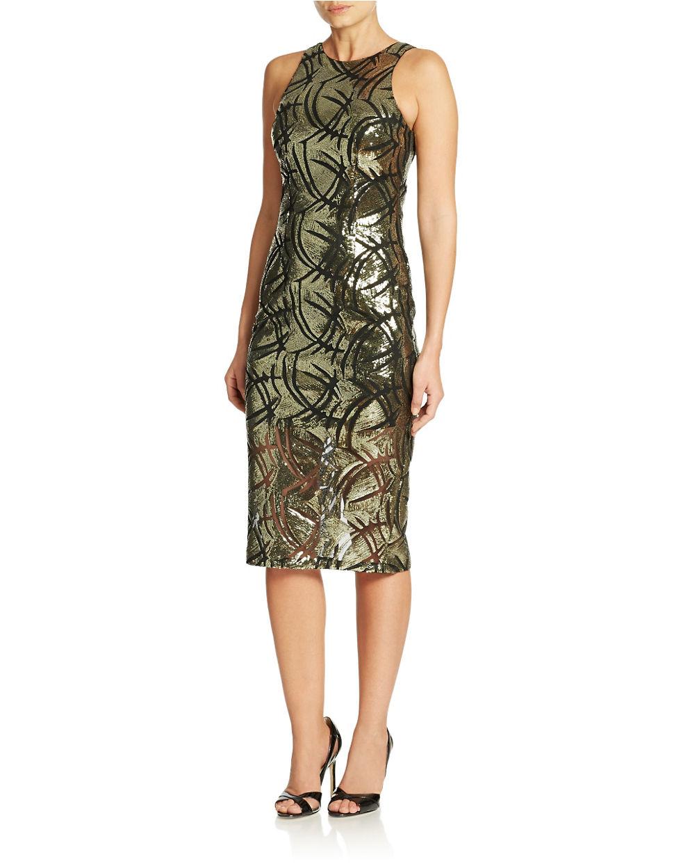 00d65141 Lyst - Alexia Admor Lace Illusion Hem Sheath Dress in Black