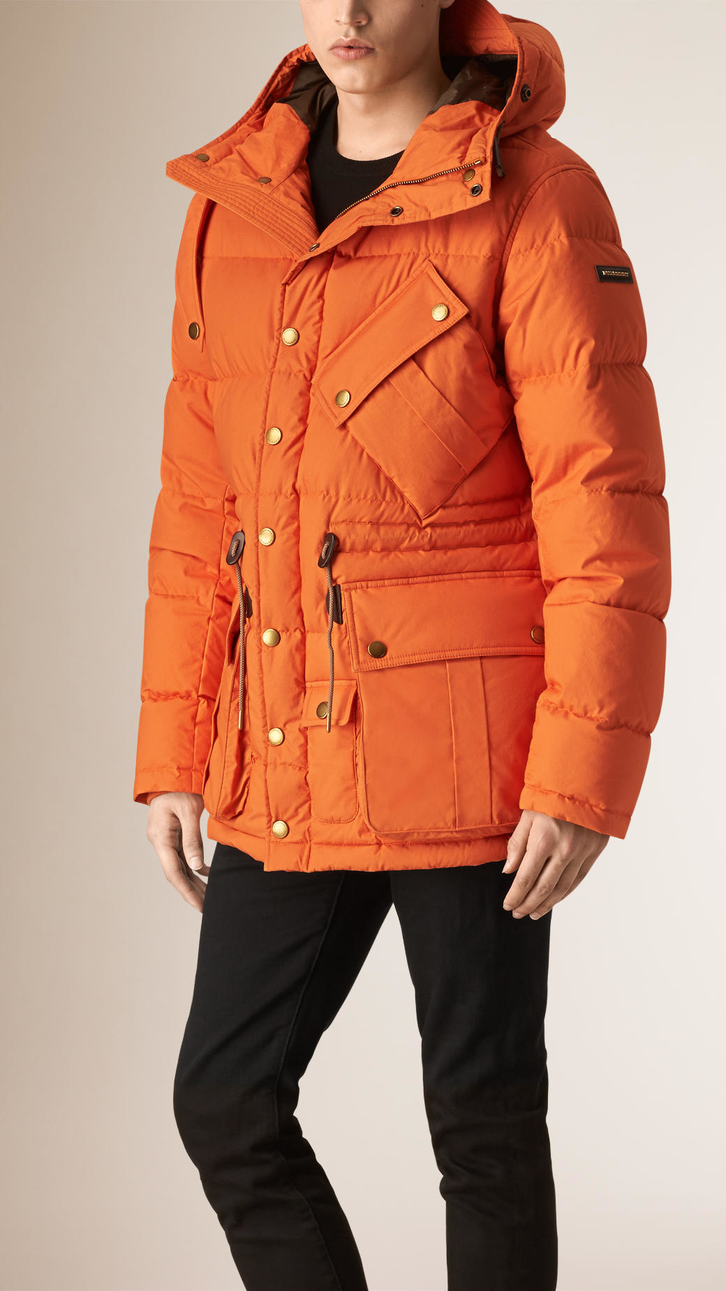Lyst Burberry Down Filled Puffer Jacket In Orange For Men