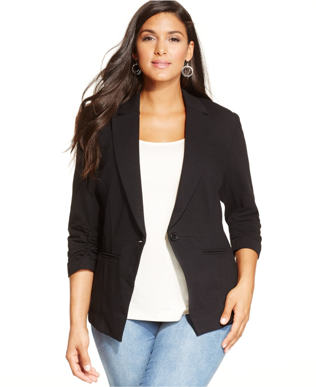 Lyst Style Amp Co Plus Size Ruched Sleeve Blazer In Black
