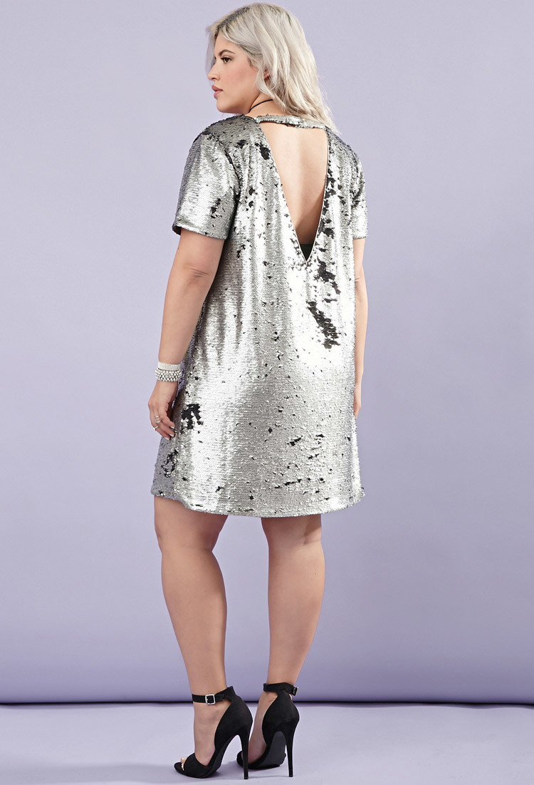 3086d93b Forever 21 Plus Size Sequin Shift Dress in Metallic - Lyst
