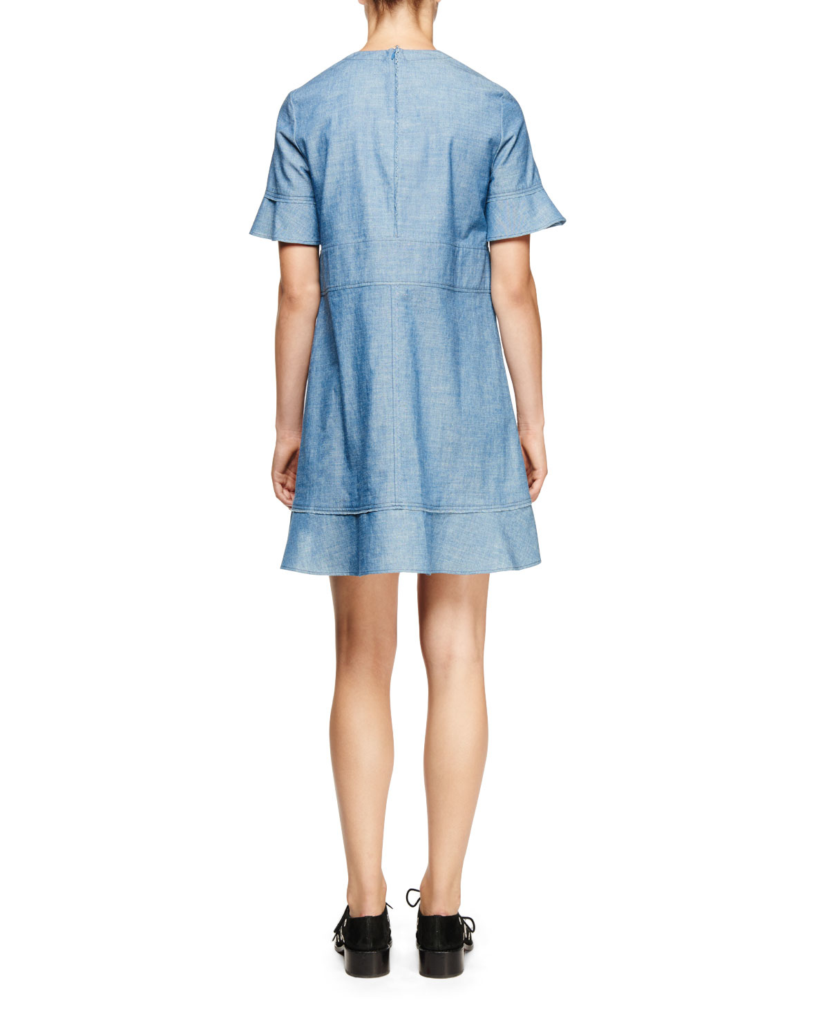 Proenza schouler short sleeve chambray dress in blue for Chambray dress