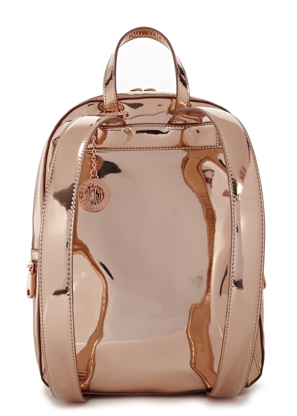 Dkny Rose Gold Leather Backpack In Pink Lyst