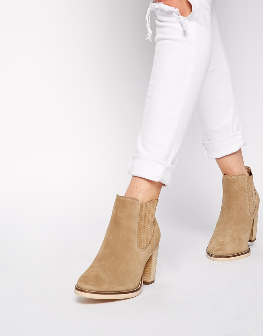 lyst asos each and every day wide fit suede ankle boots in brown