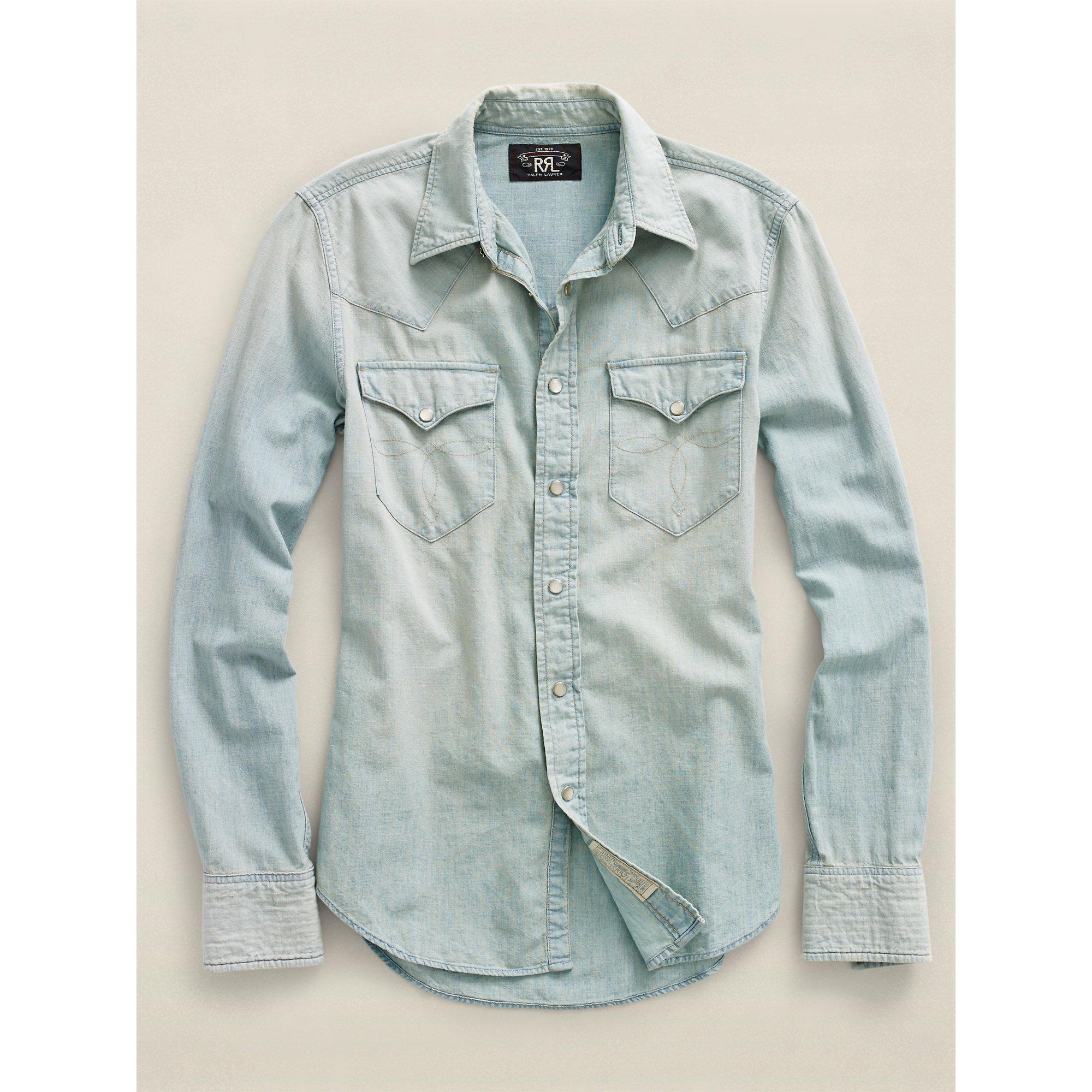 37a8bdfd5e Lyst - RRL Chambray Buffalo Western Shirt in Blue for Men