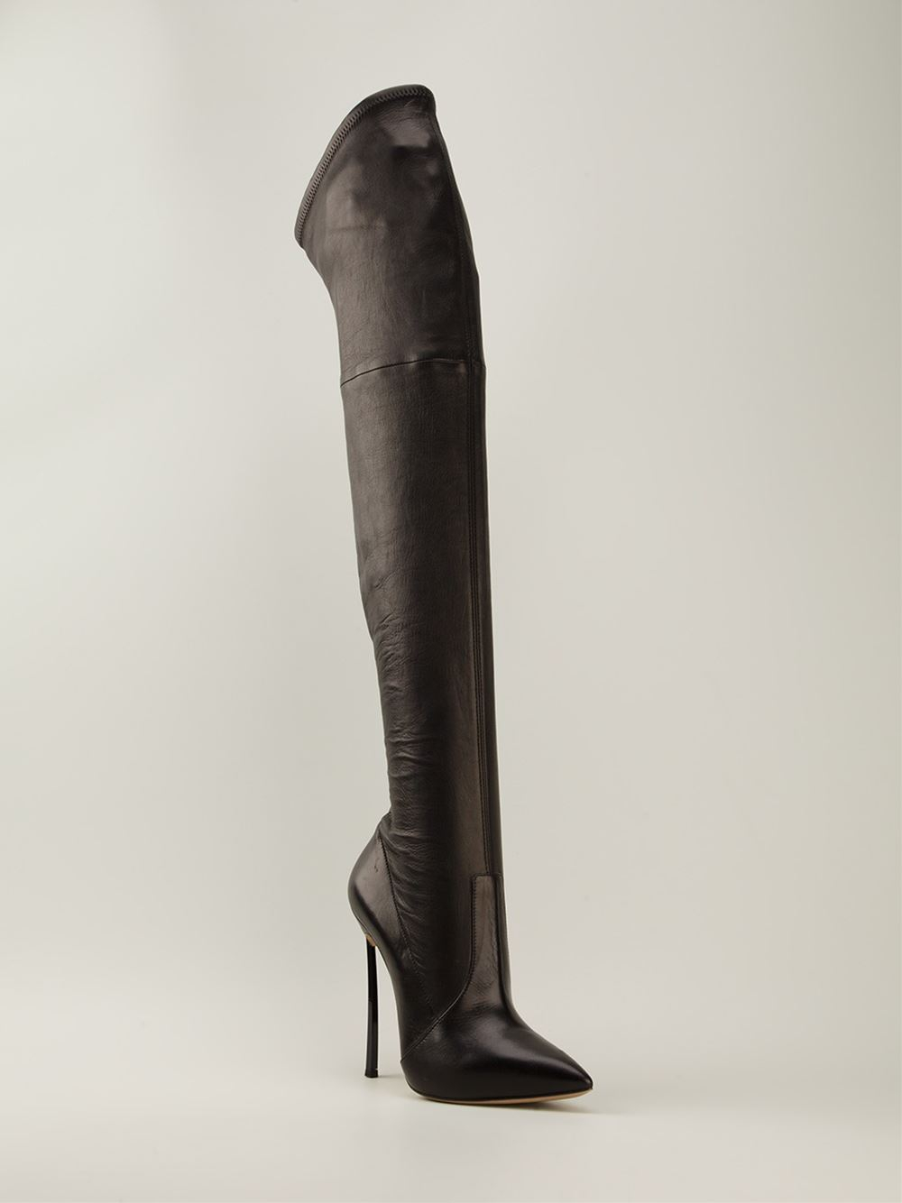 f72255e3554 Lyst - Casadei Zipper Detail Thigh High Boots in Black