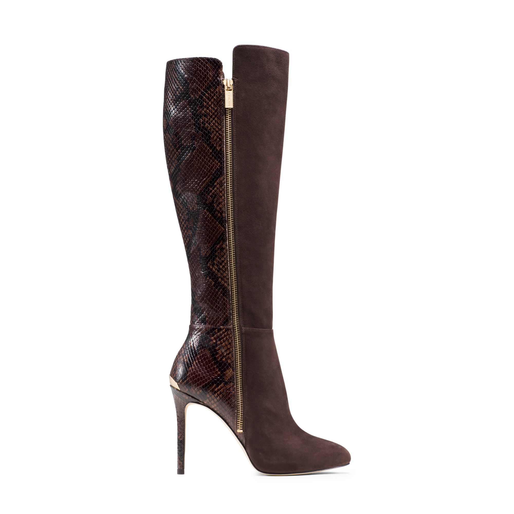 michael kors clara suede and embossed leather boot in brown lyst. Black Bedroom Furniture Sets. Home Design Ideas