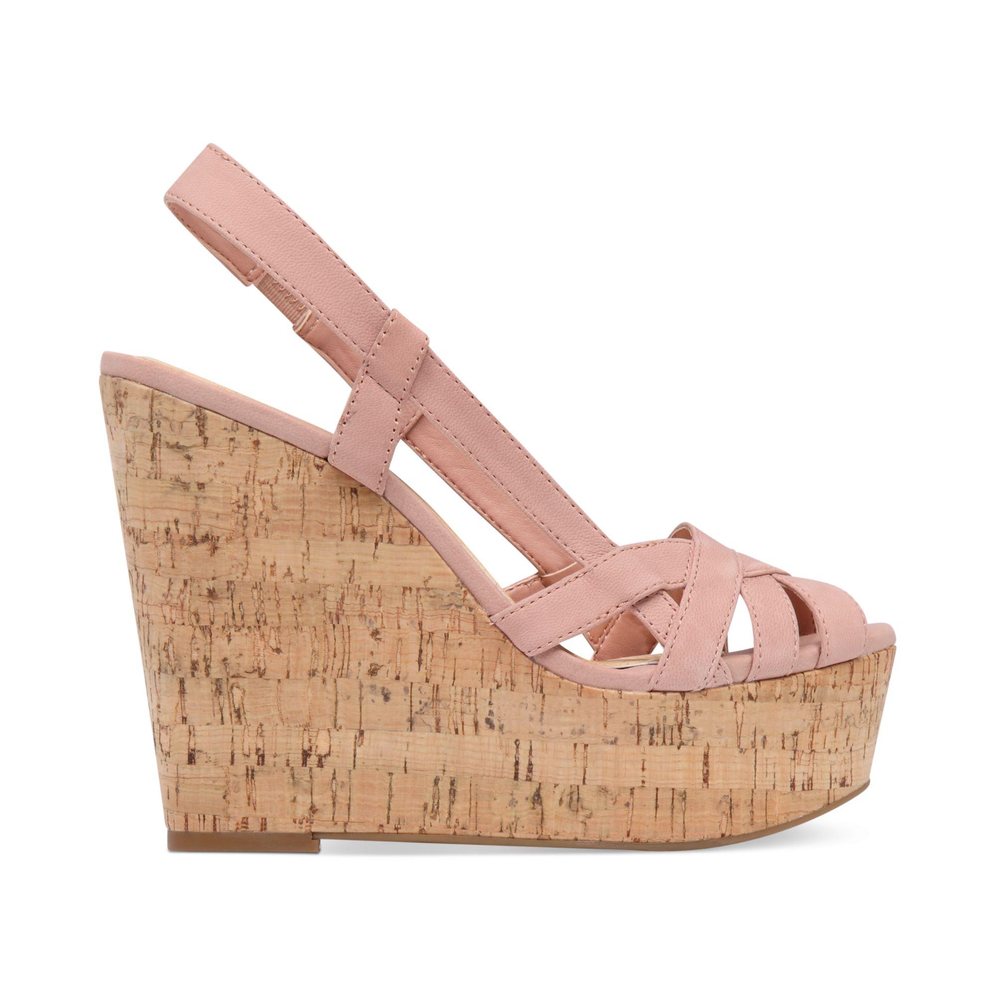 westt cork platform wedge sandals in pink