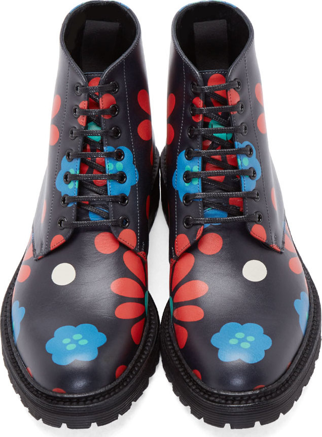 Saint laurent Black And Red 70s Print Combat Boots in Black | Lyst