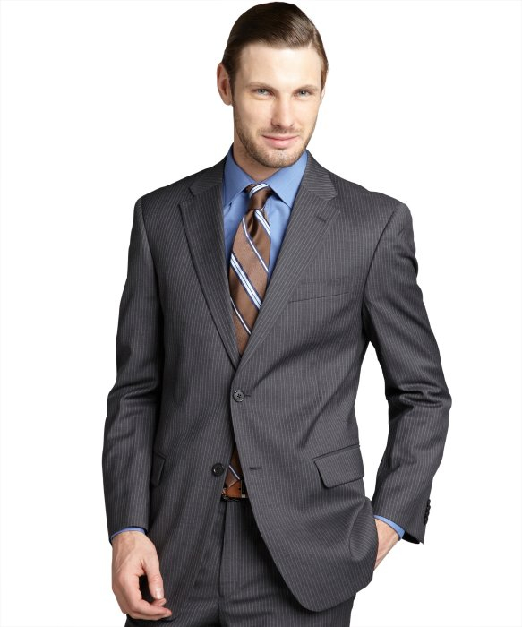 Tommy hilfiger Charcoal Pinstripe Wool Slim Fit Two-Button Suit ...