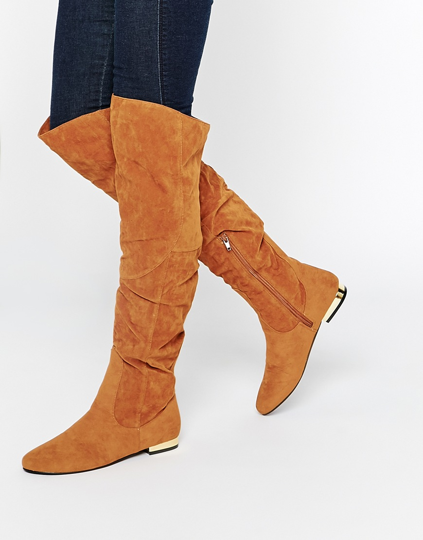 Daisy street Tan Flat Over The Knee Boots in Brown | Lyst