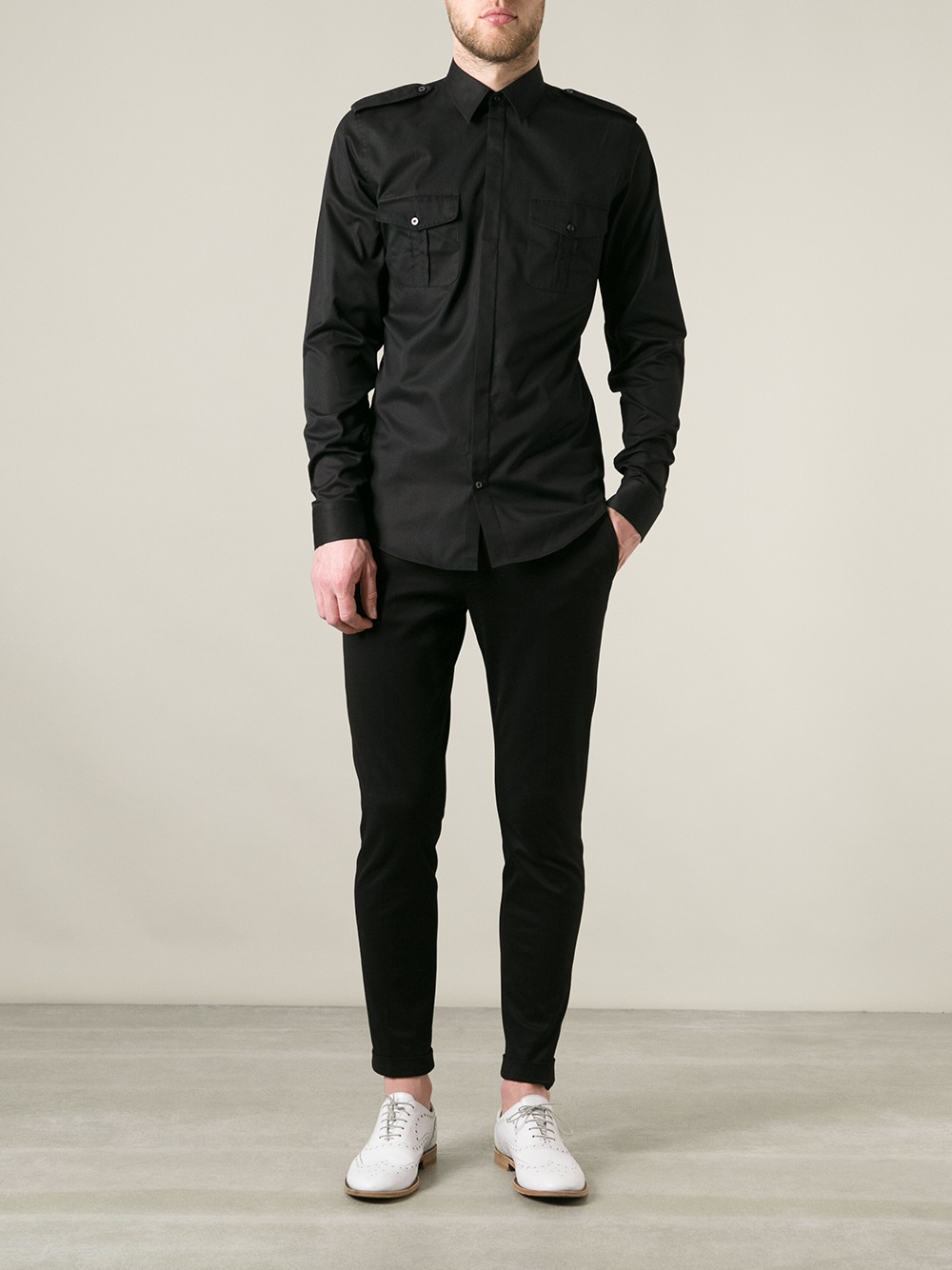 Lyst - Gucci Military Style Shirt in Black for Men