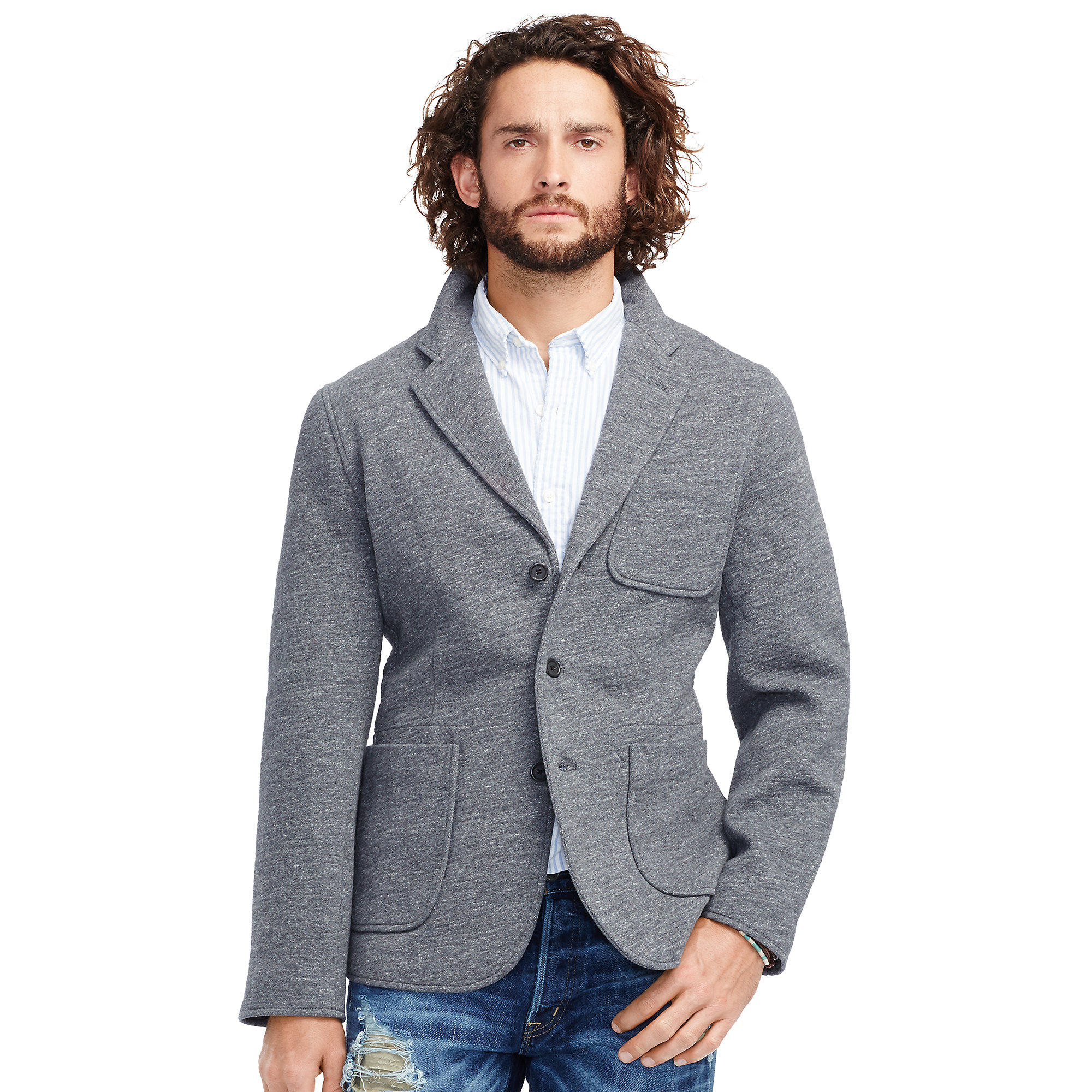Denim & supply ralph lauren Heathered Knit Cotton Blazer in Gray ...