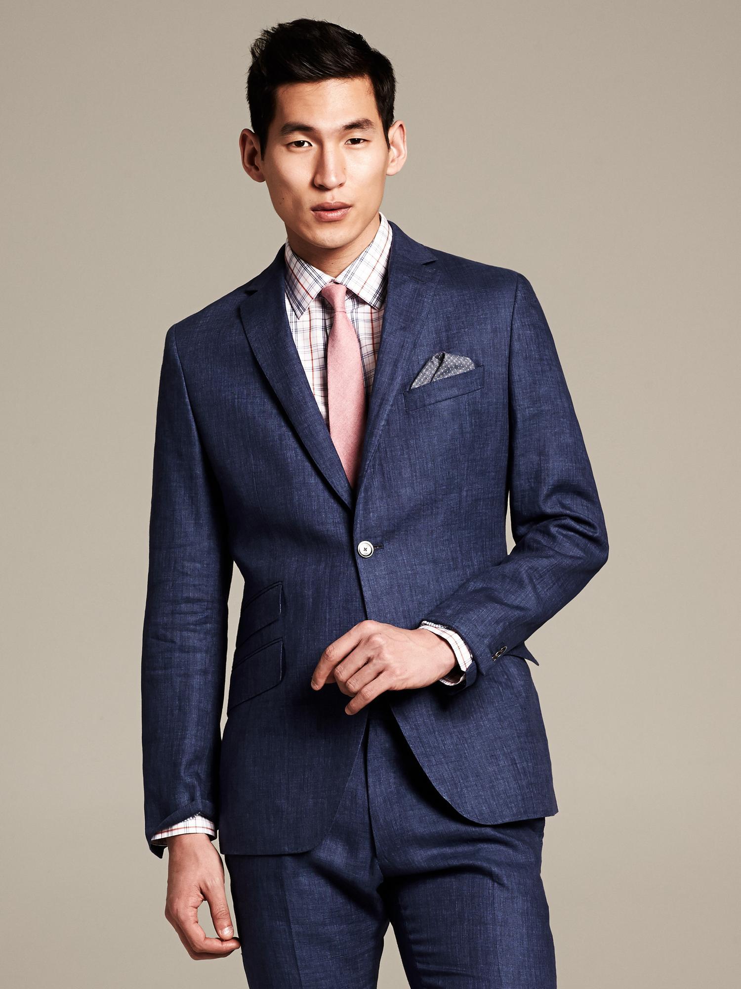 Banana Republic Modern Slim Fit Navy Linen Suit Jacket