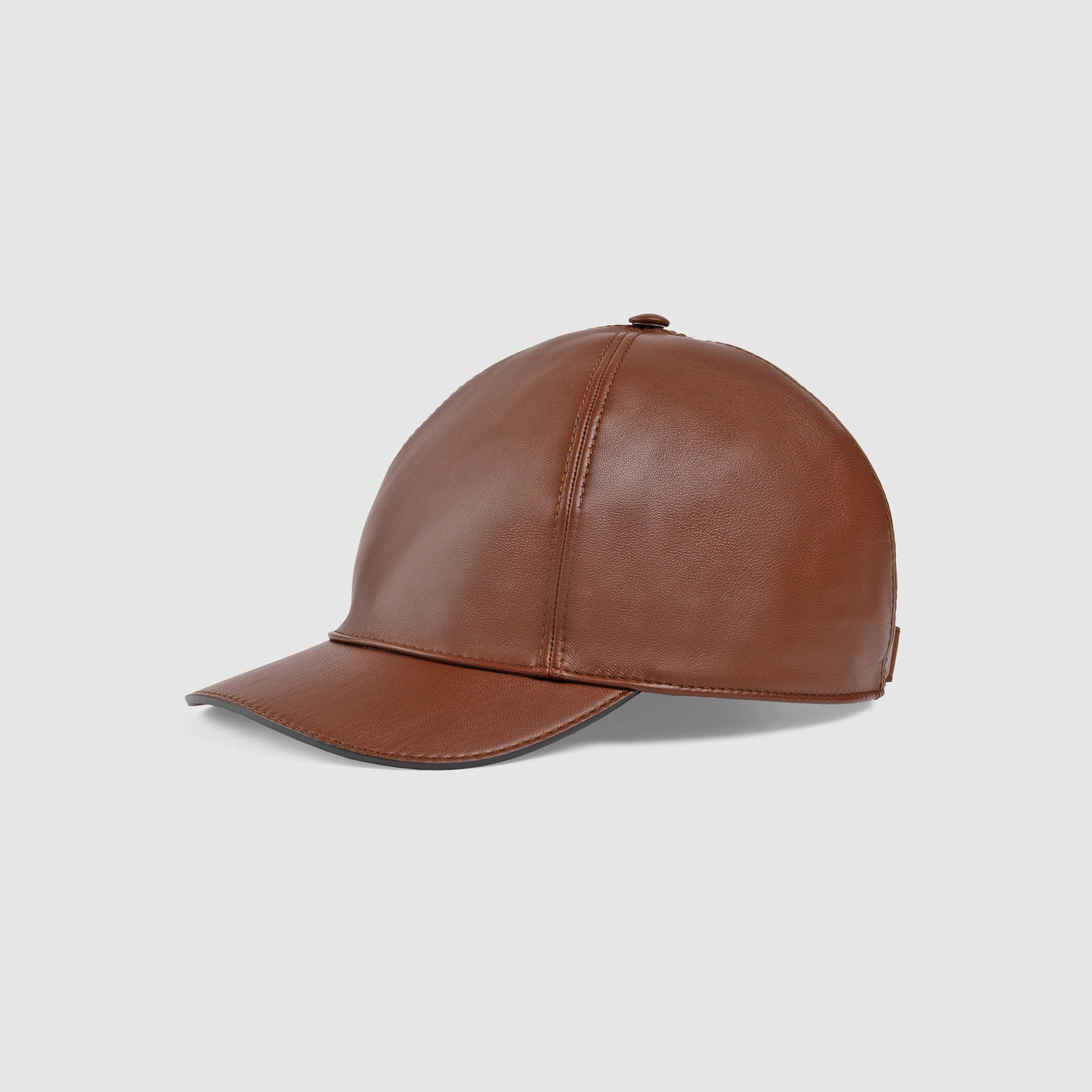 765b32673673 Lyst - Gucci Leather Baseball Hat in Brown for Men