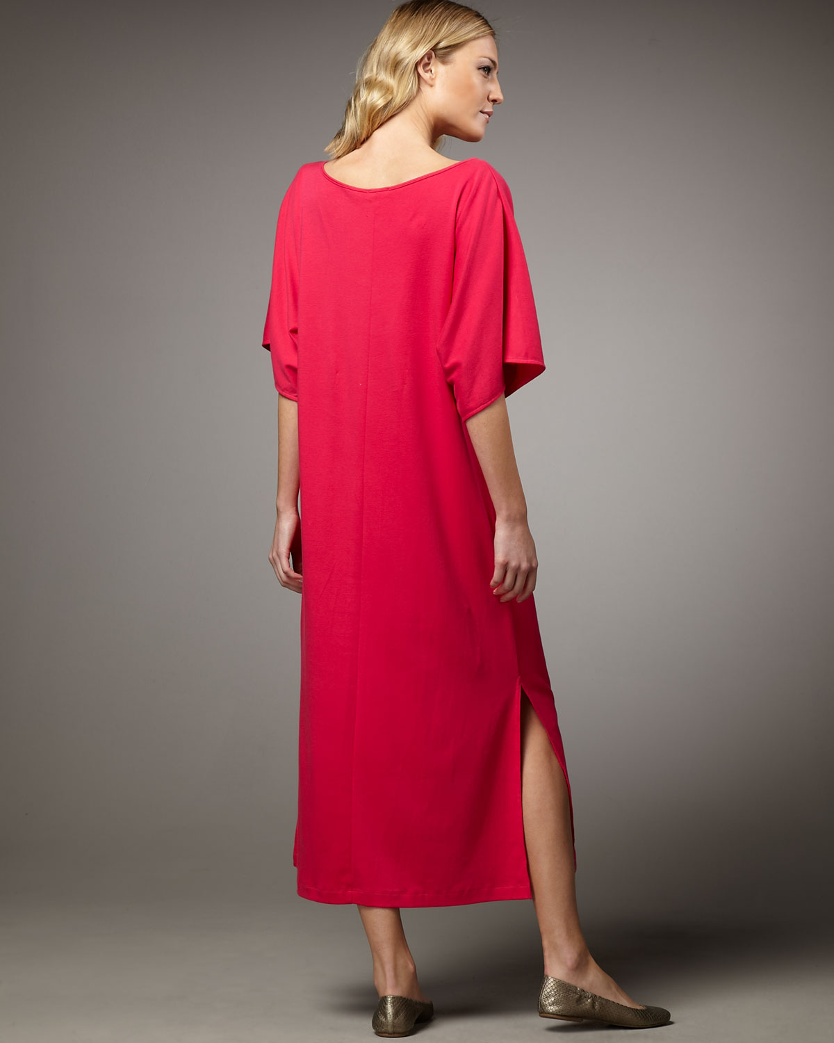 Joan Vass Keyhole-Detail Long Dolman Dress In Pink
