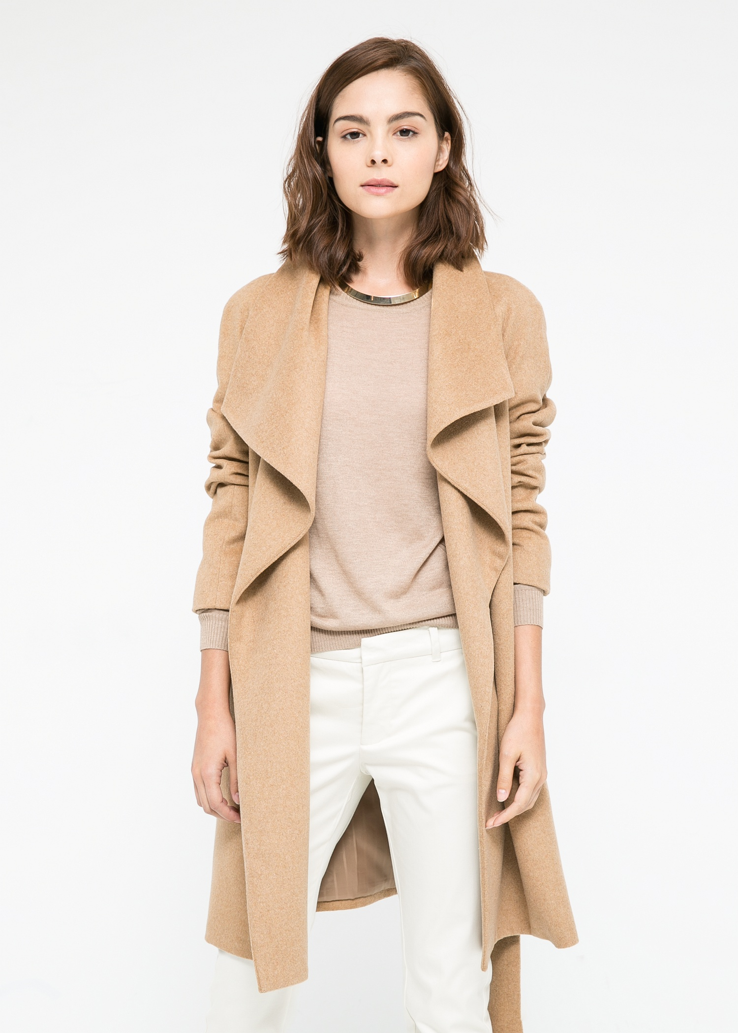 Mango Lapels Wool-Blend Coat in Natural | Lyst