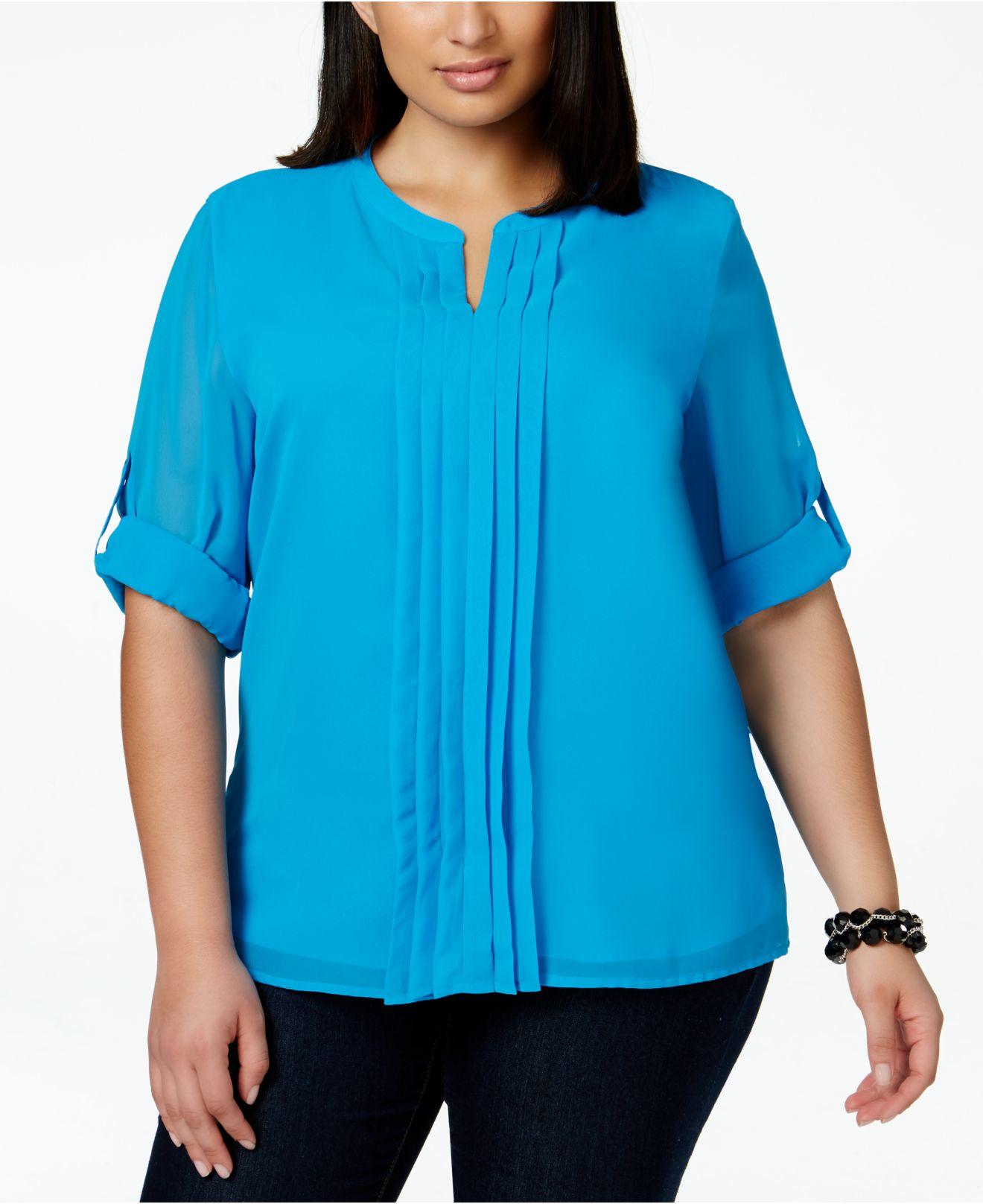 50b9e3d62b58c4 Calvin Klein Plus Size Split-neck Pleat-front Chiffon Blouse in Blue ...