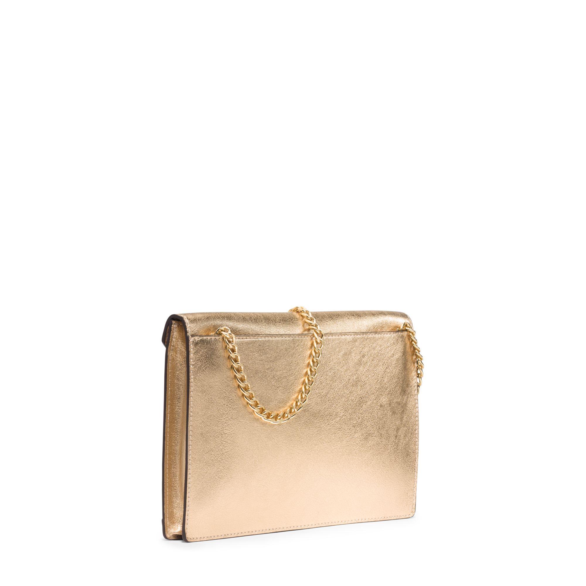 1d29c7738d3bab Michael Kors Lana Leather Envelope Clutch in Metallic - Lyst