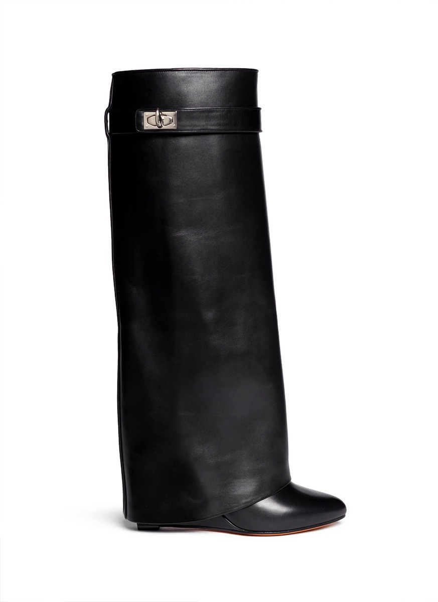 givenchy shark tooth lock wedge boots in black lyst