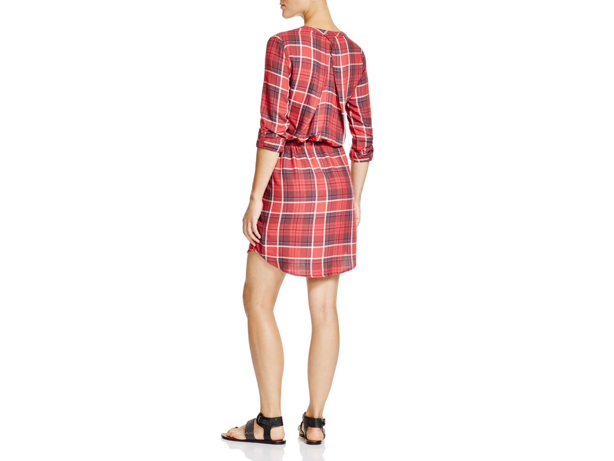 Soft joie cassina plaid shirt dress in pink lyst for Soft joie plaid shirt