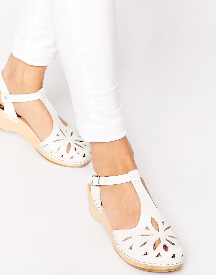 Swedish hasbeens Lacy Debutant White Kitten Heel Sandals in White ...