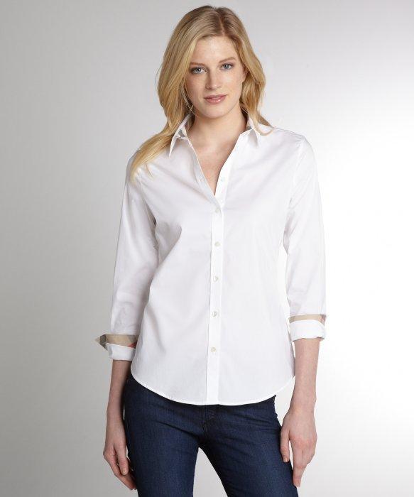 Burberry Brit White Stretch Cotton Poplin Shirt in White - Lyst 69942723c1