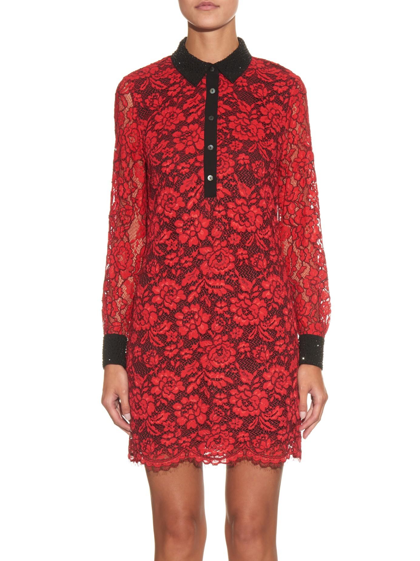 Lyst diane von furstenberg lace chemise shirt dress in red for Diane von furstenberg shirt