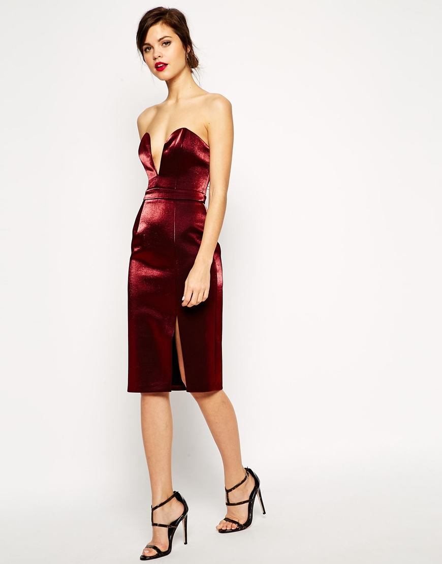 89448fc698 Lyst - ASOS Red Carpet Super Plunge Pencil Dress in Red