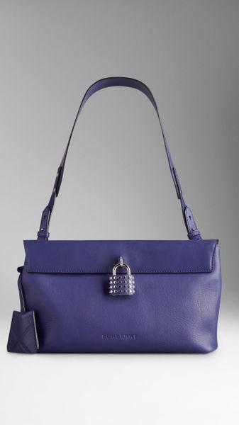 Burberry Medium Studded Padlock Leather Hobo Bag in Blue (lapis blue)