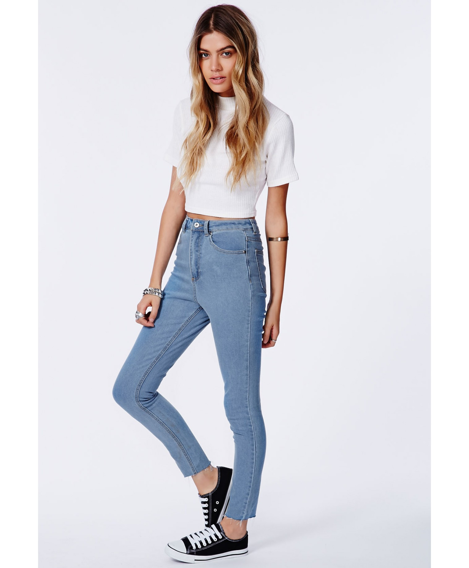 High Waisted Light Blue Skinny Jeans