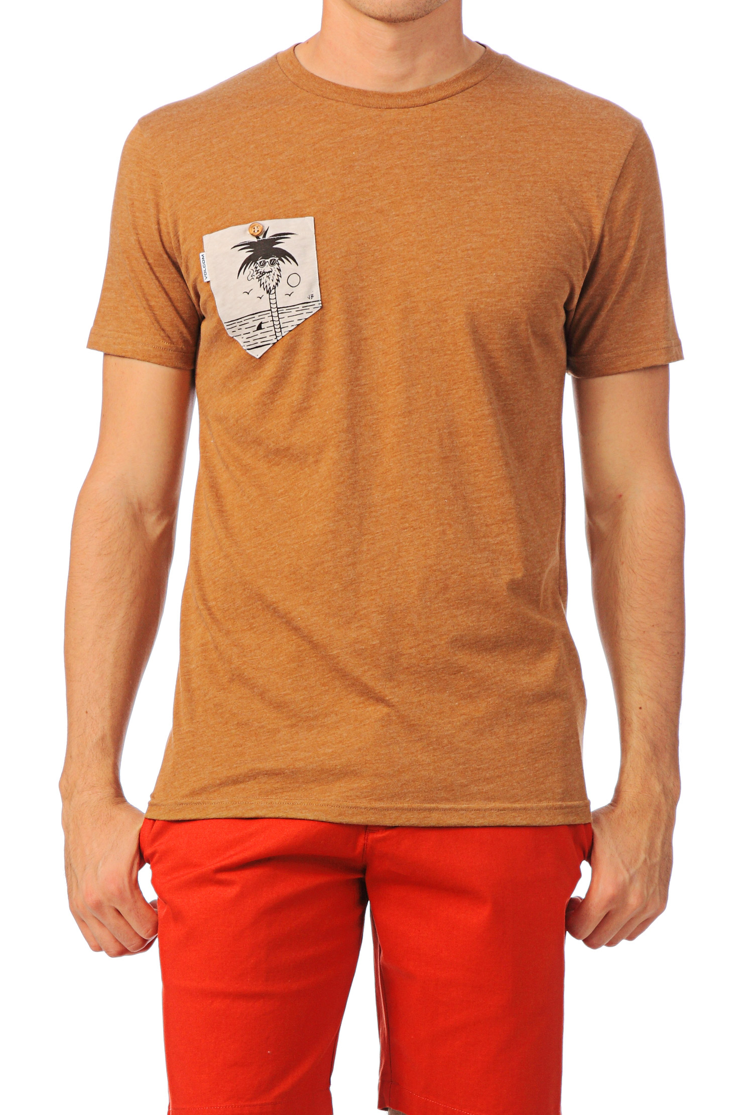 Volcom Short Sleeve Tshirt Printed Pocket Ss In Brown For