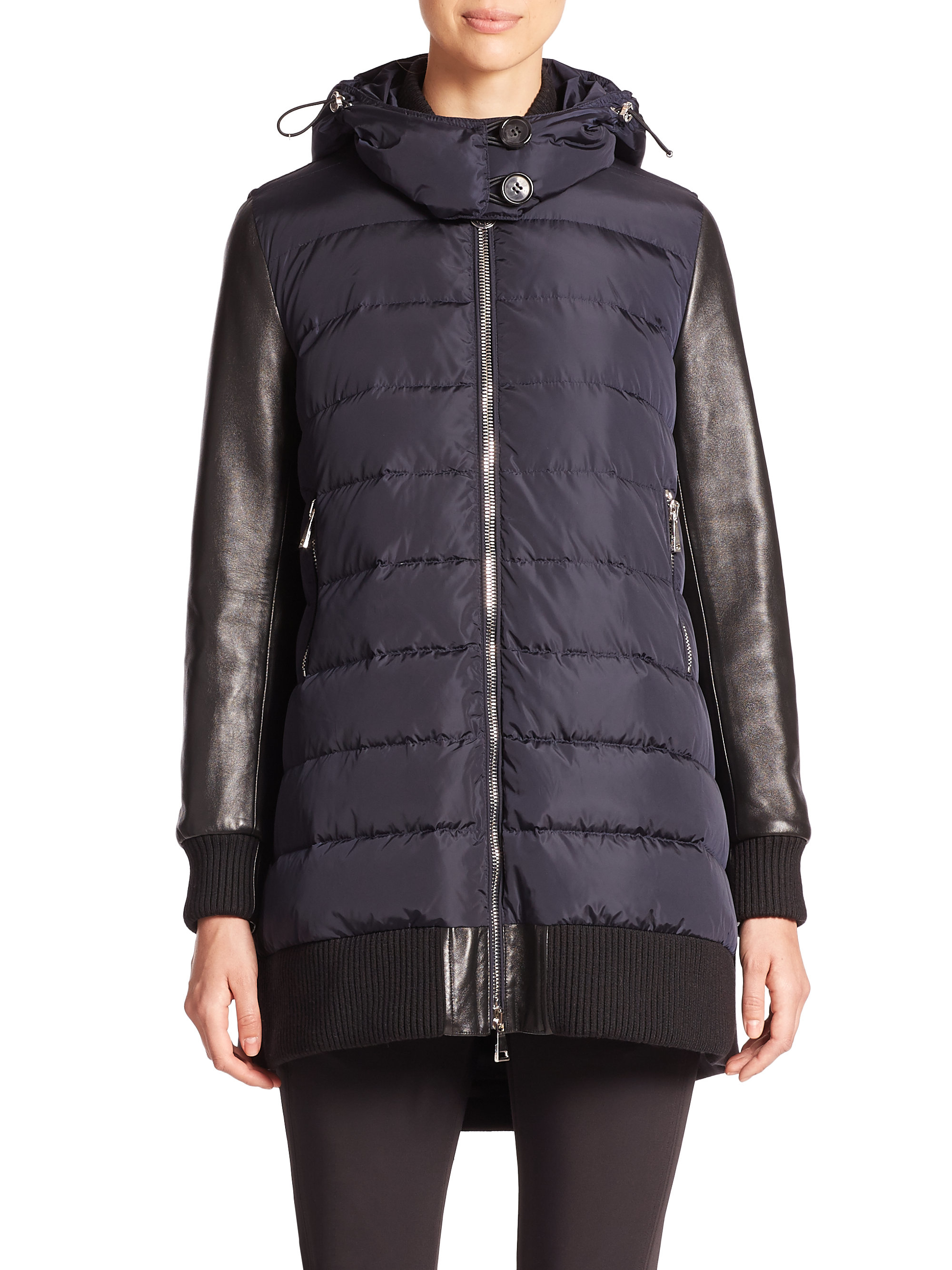 Moncler Mixed Media Quilted Jacket Navy