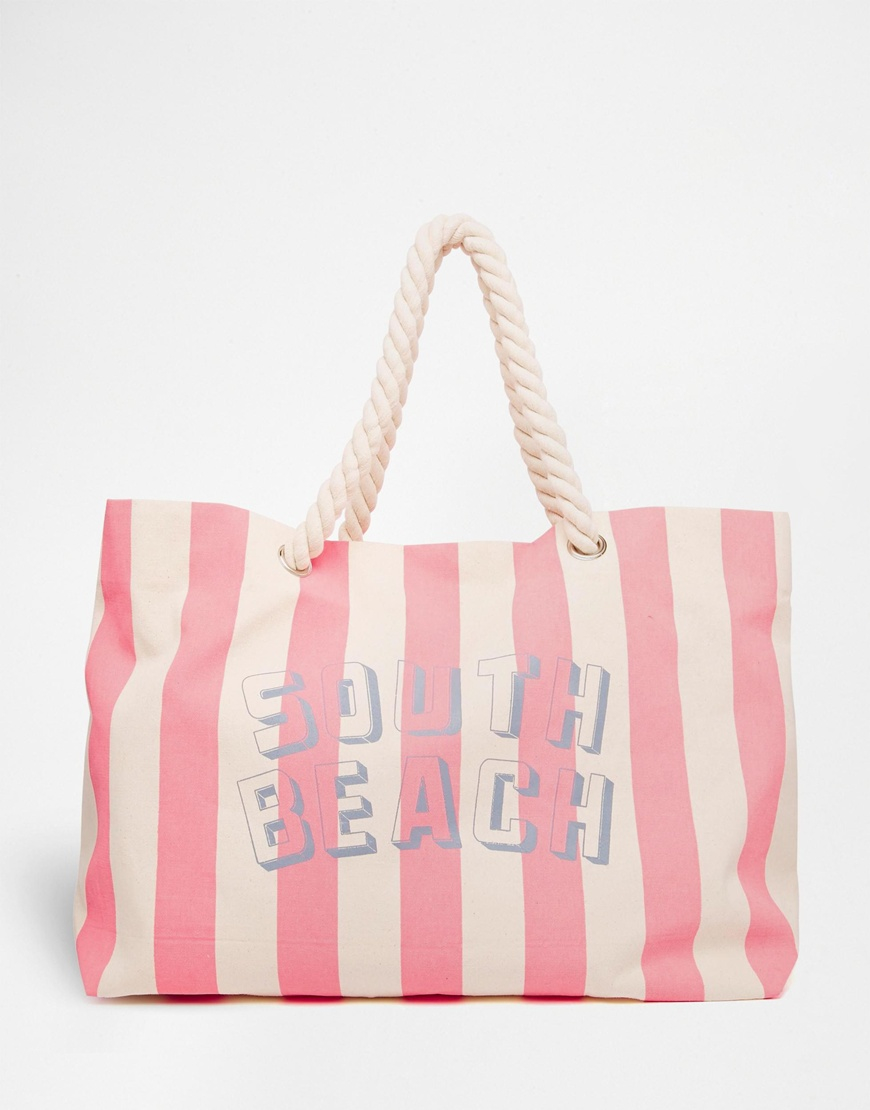 South beach Pink Striped Beach Bag With Rope Handle in Pink | Lyst