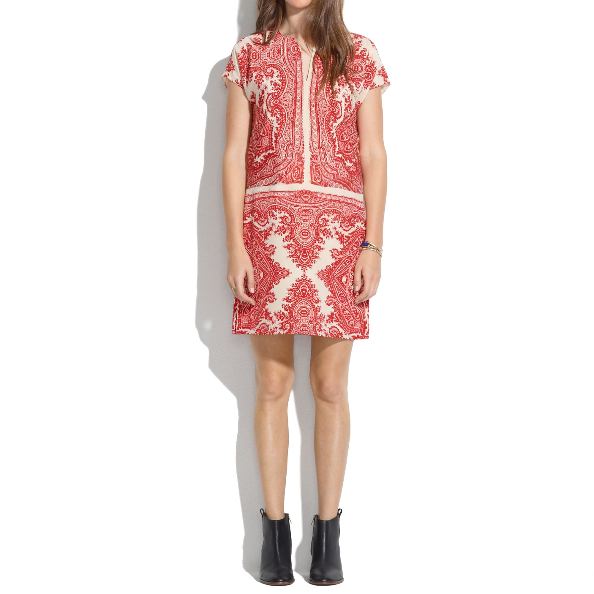Madewell Silk Paisley Tunic Dress In Red Lyst