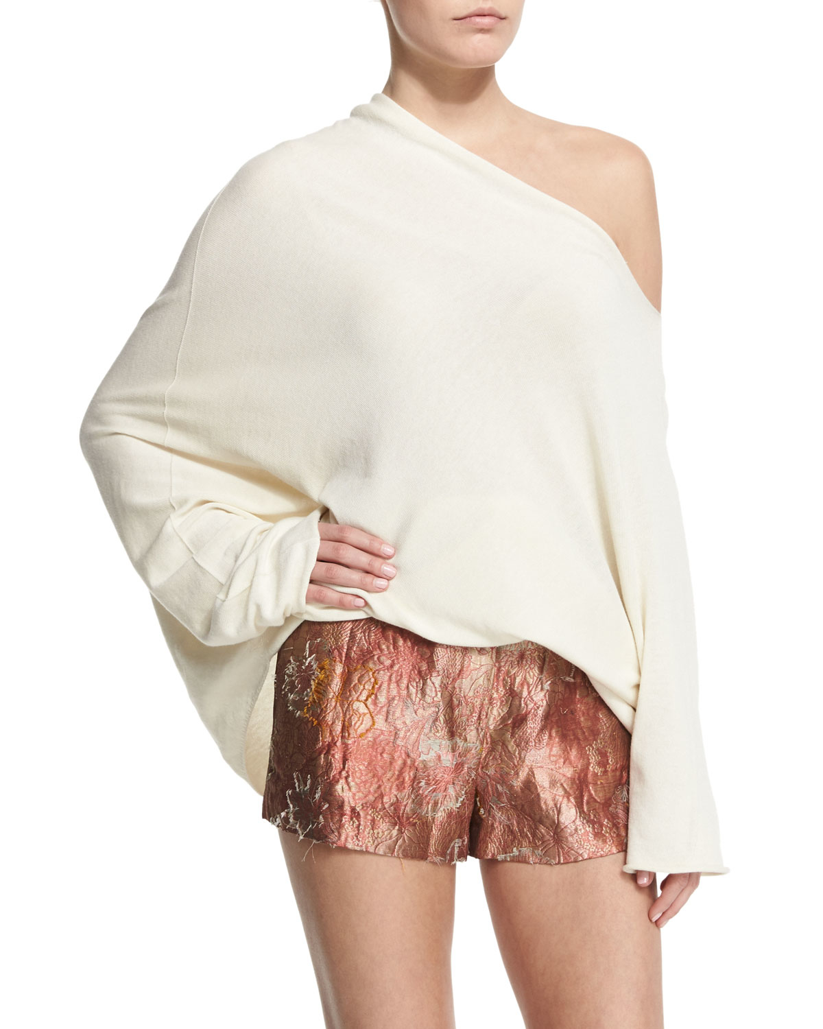 1b560c0b012 The Row Nandac Off-the-shoulder Oversized Top in Natural - Lyst