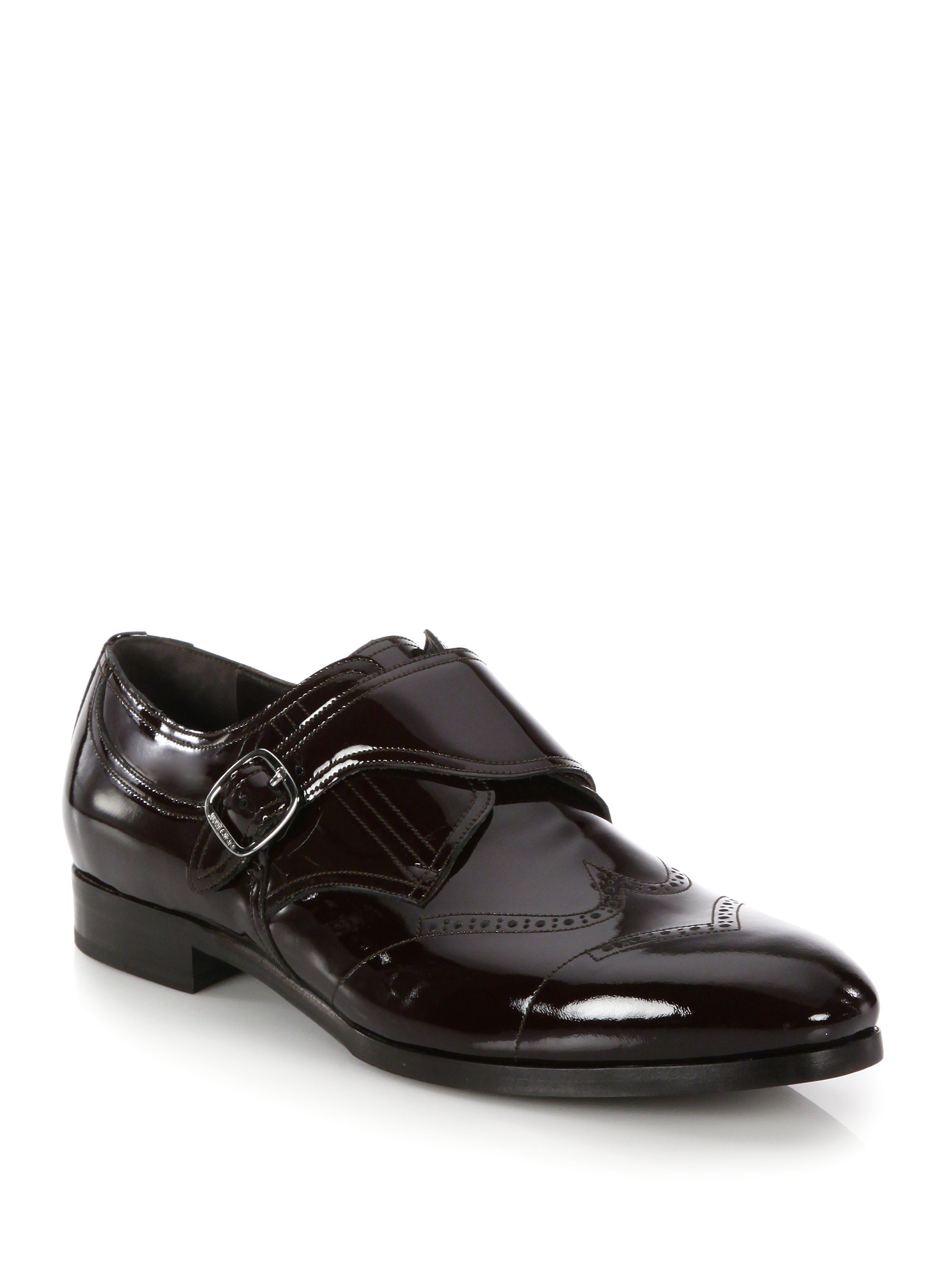 jimmy choo patent leather monk shoes in black for