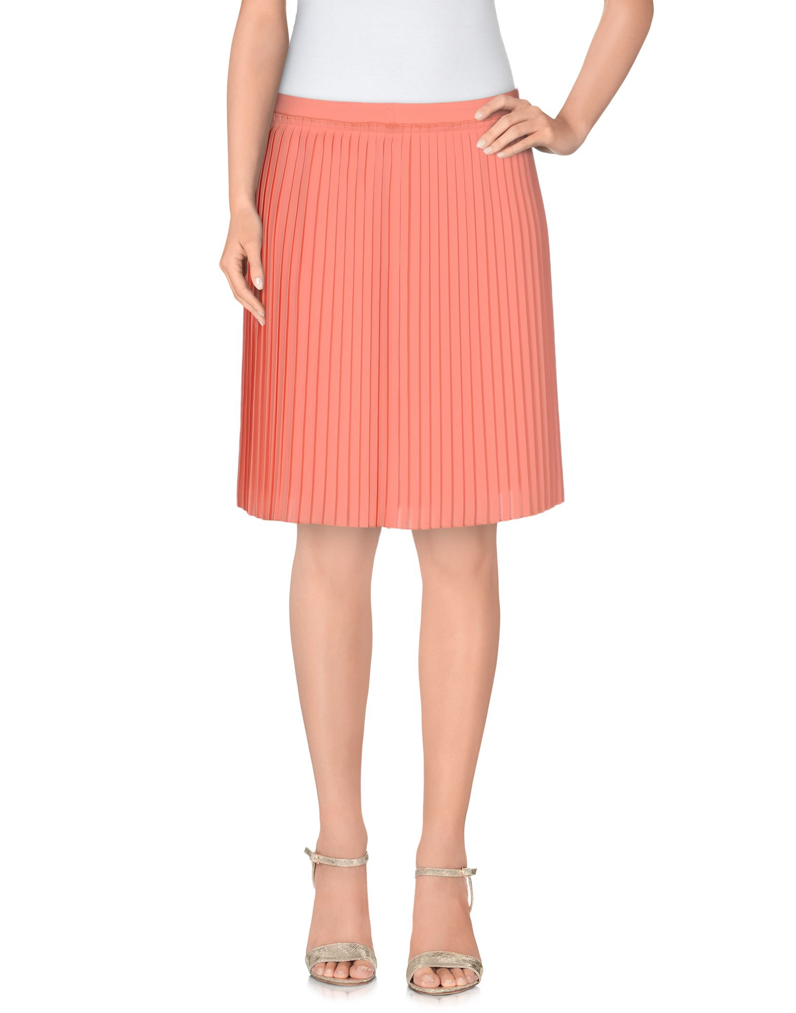 armani knee length skirt in pink salmon pink lyst