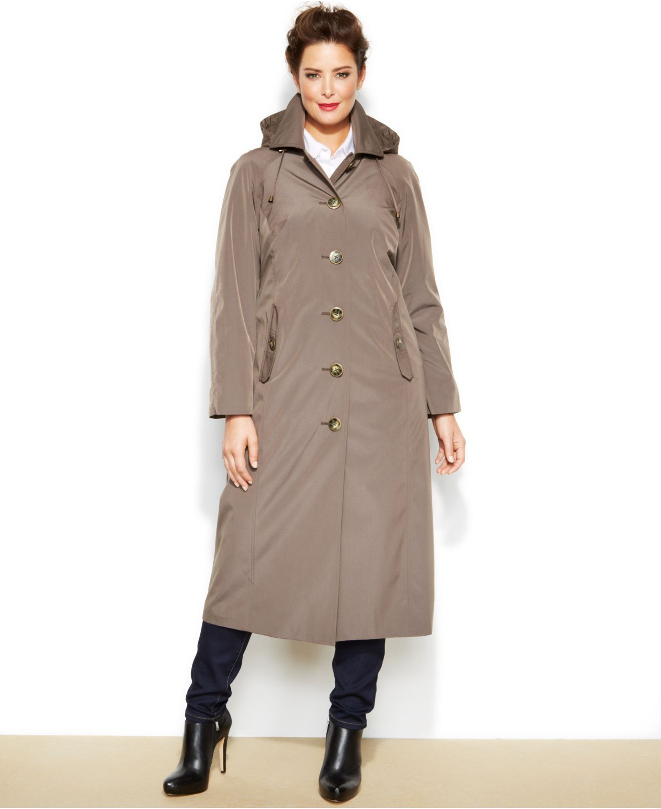 505181bee7f Lyst - London Fog Plus Size Long Belted Trench Coat in Brown
