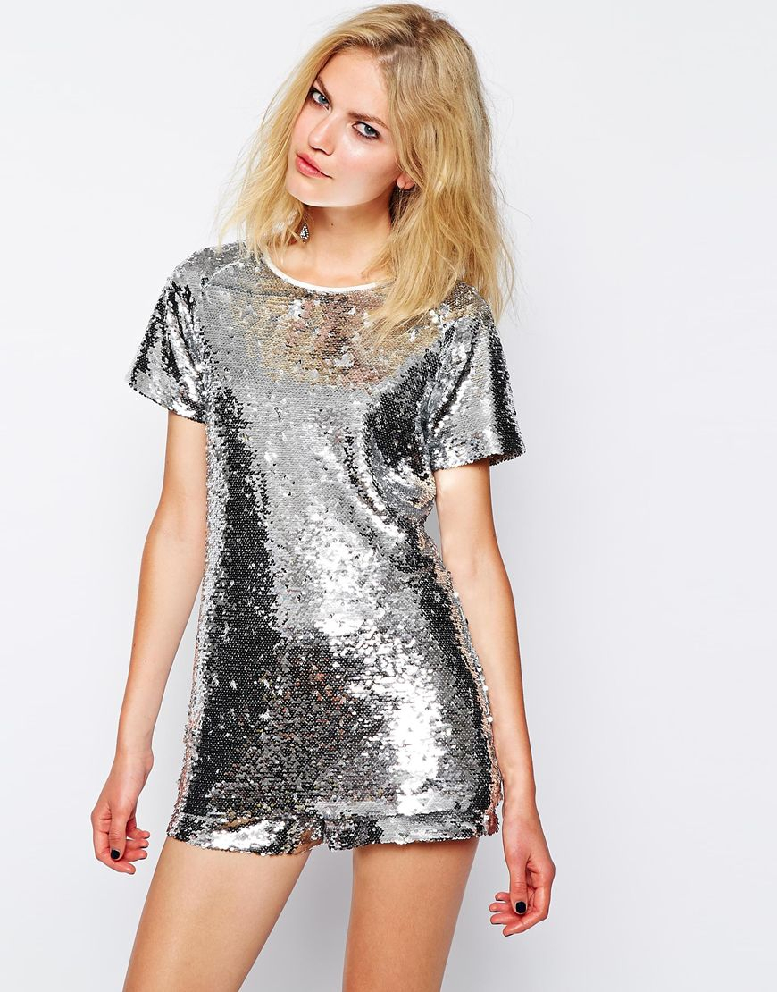 Supertrash truce t shirt in sequin in metallic lyst for Sequin t shirt changing