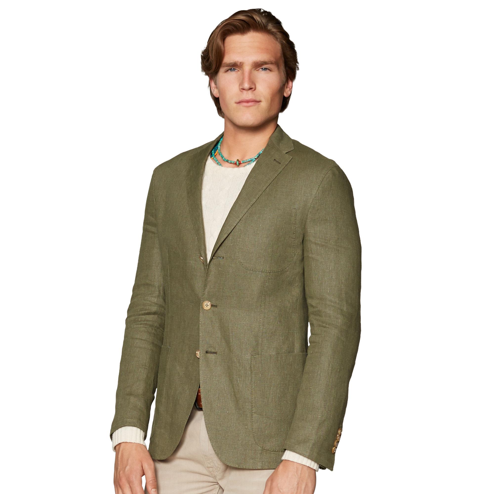 Polo Ralph Lauren Linen Patch Pocket Sport Coat In Green