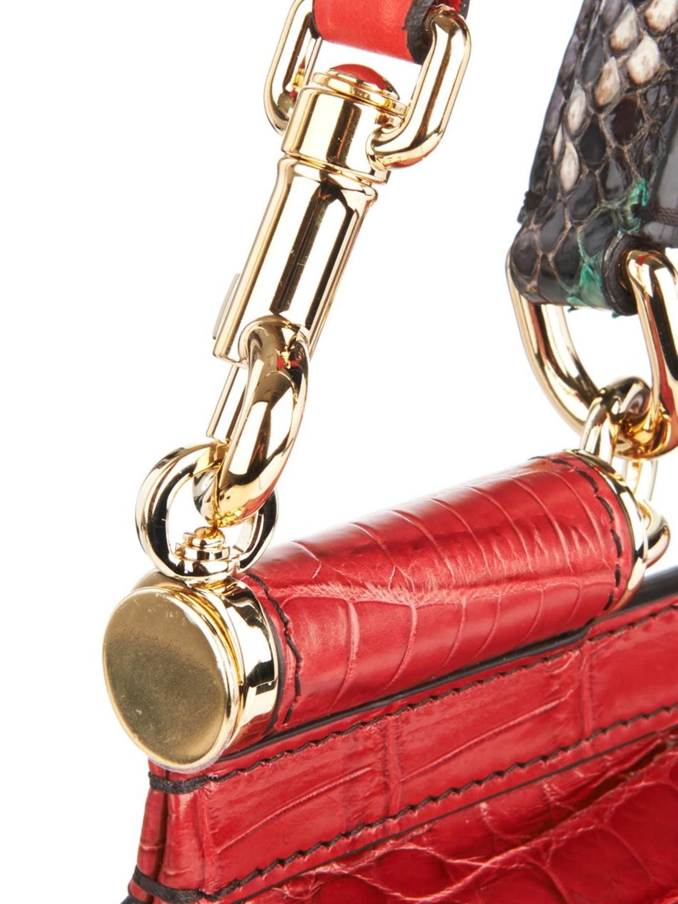 014cbc4692 Lyst - Dolce   Gabbana Sicily Crocodile and Snakeskin Cross-Body Bag