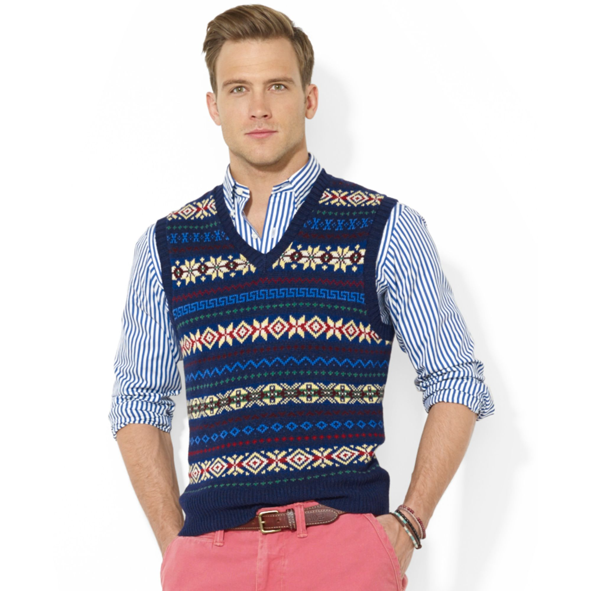 Polo ralph lauren Fair Isle V-Neck Vest in Blue for Men | Lyst