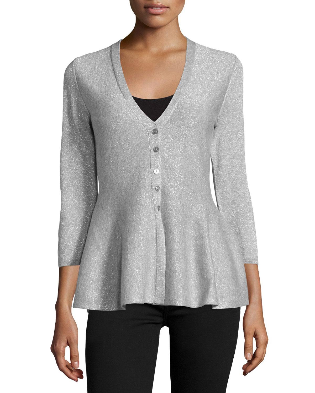 Philosophy cashmere 3/4-sleeve Peplum Waist Knit Cardigan in ...