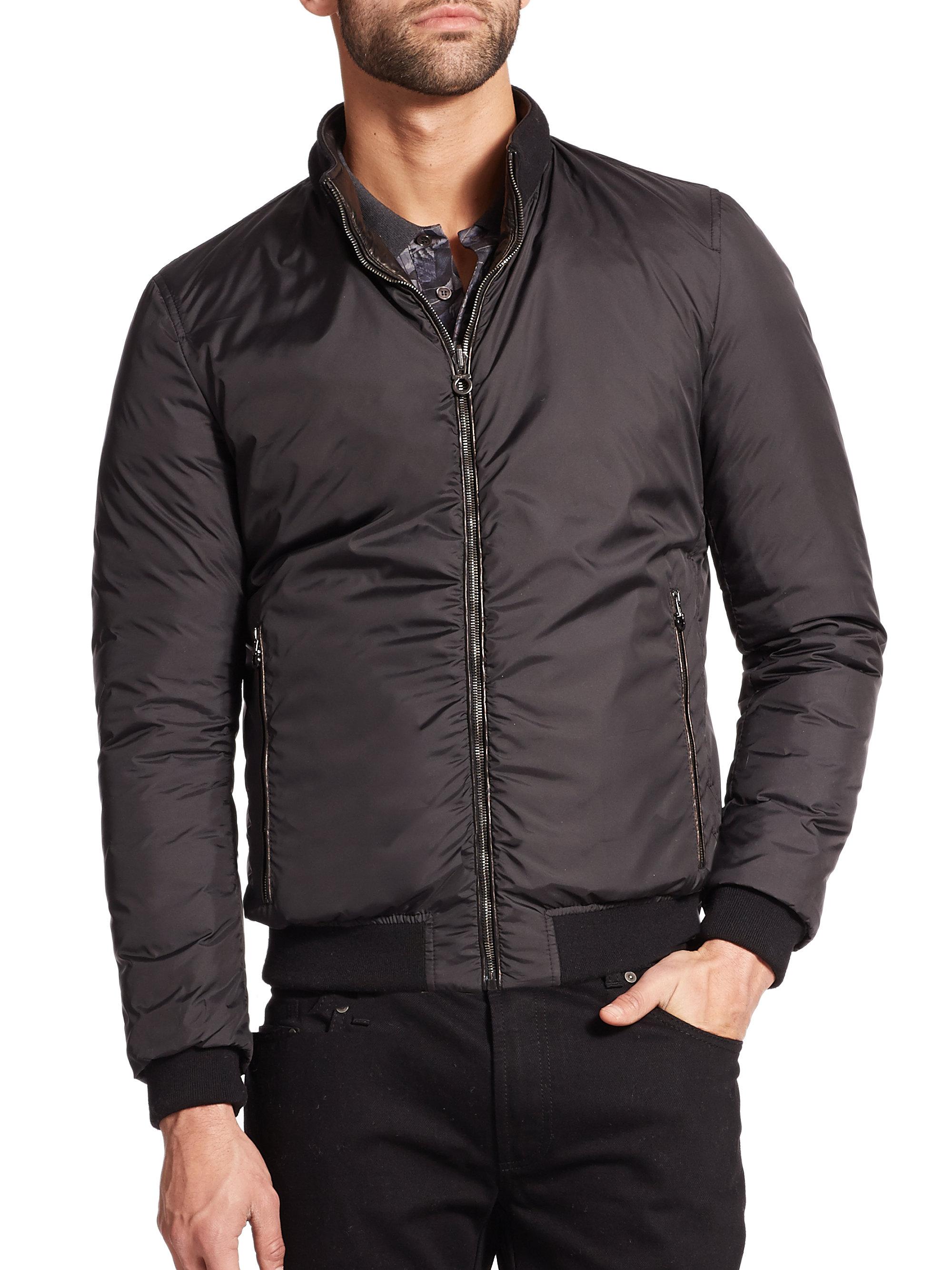 Ferragamo Reversible Leather Puffer Jacket in Black for ...