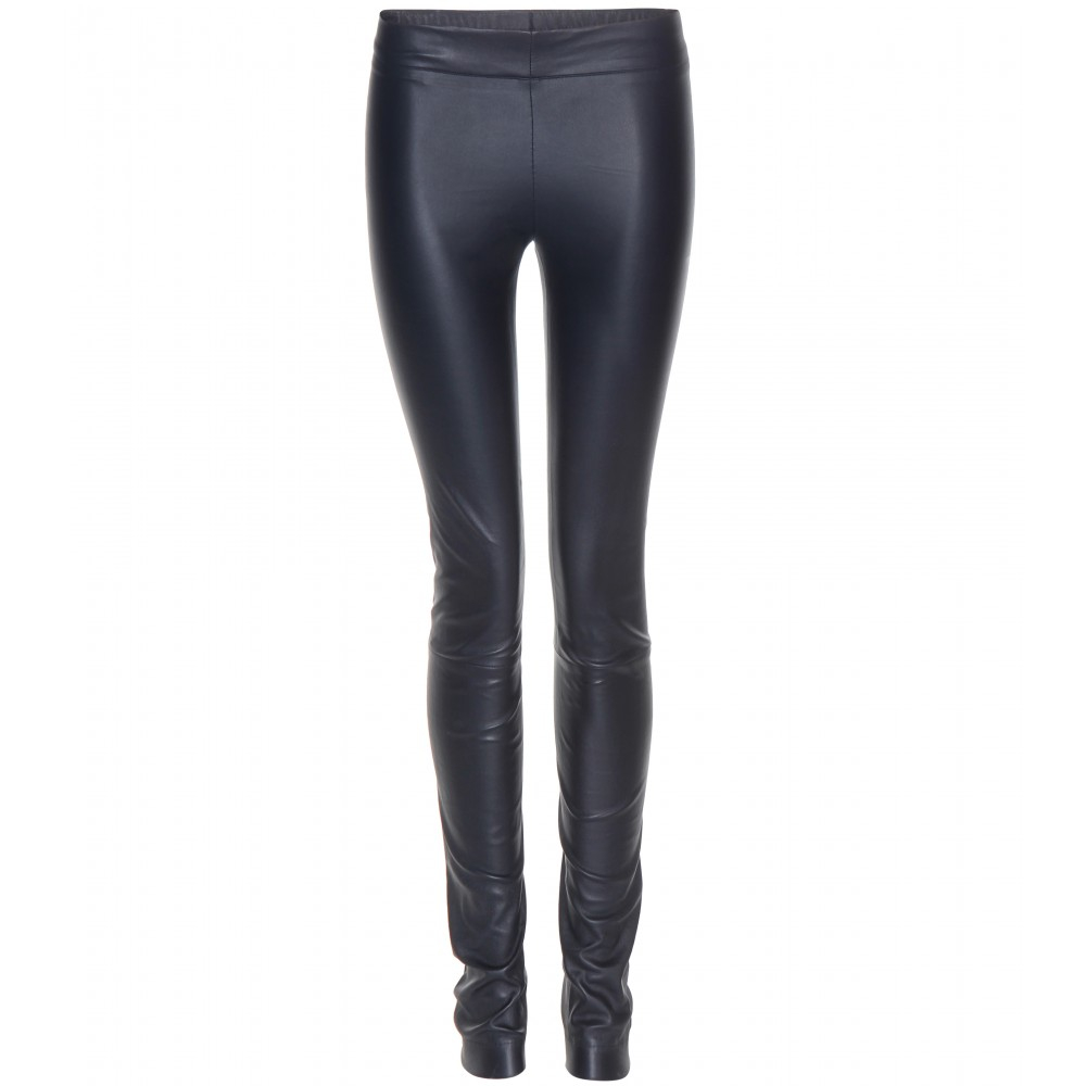 The row Moto Leather Leggings in Blue | Lyst