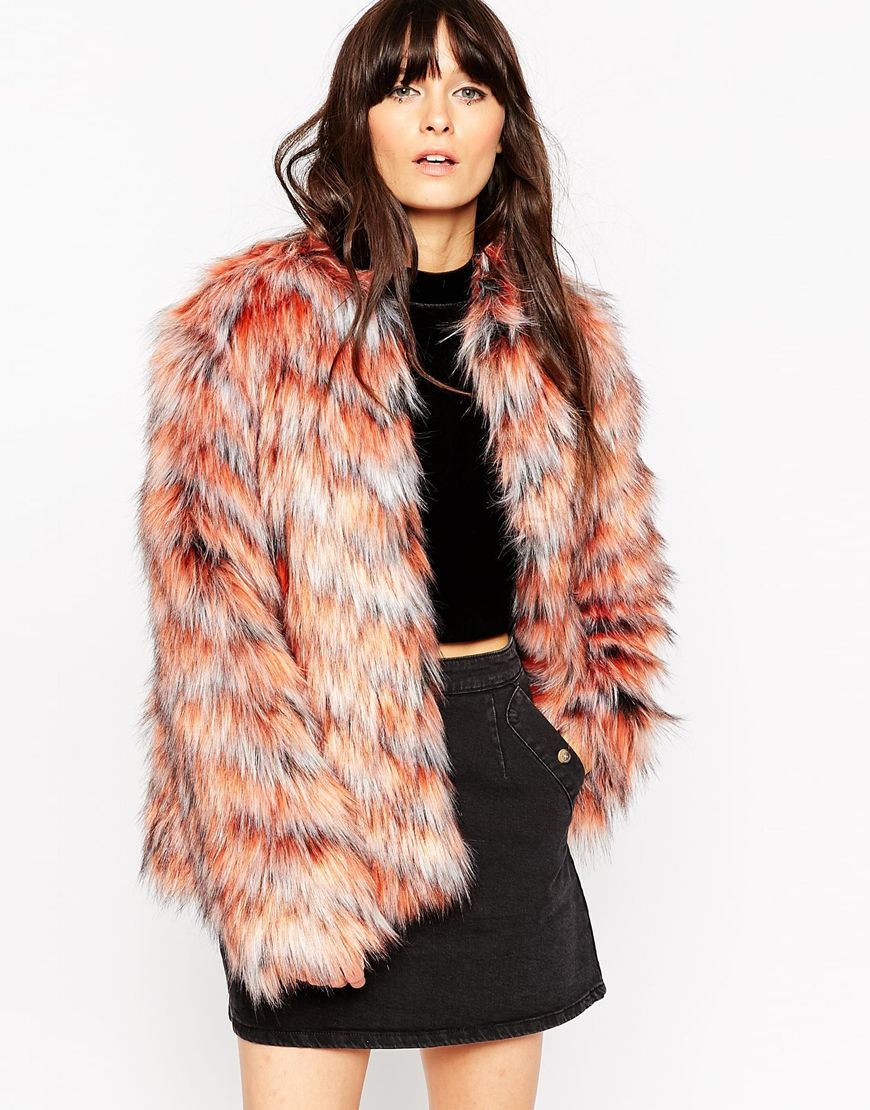 fee867b23264 Lyst - ASOS Coat In Chevron Faux Fur