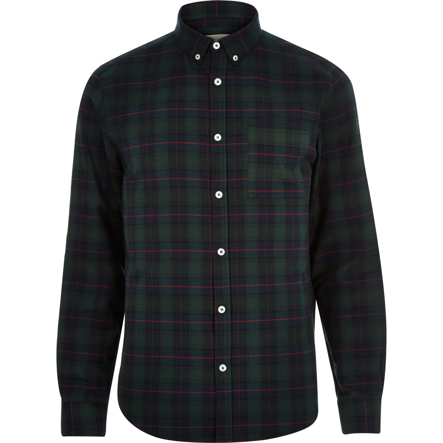 River Island Green Check Brushed Flannel Shirt In Green