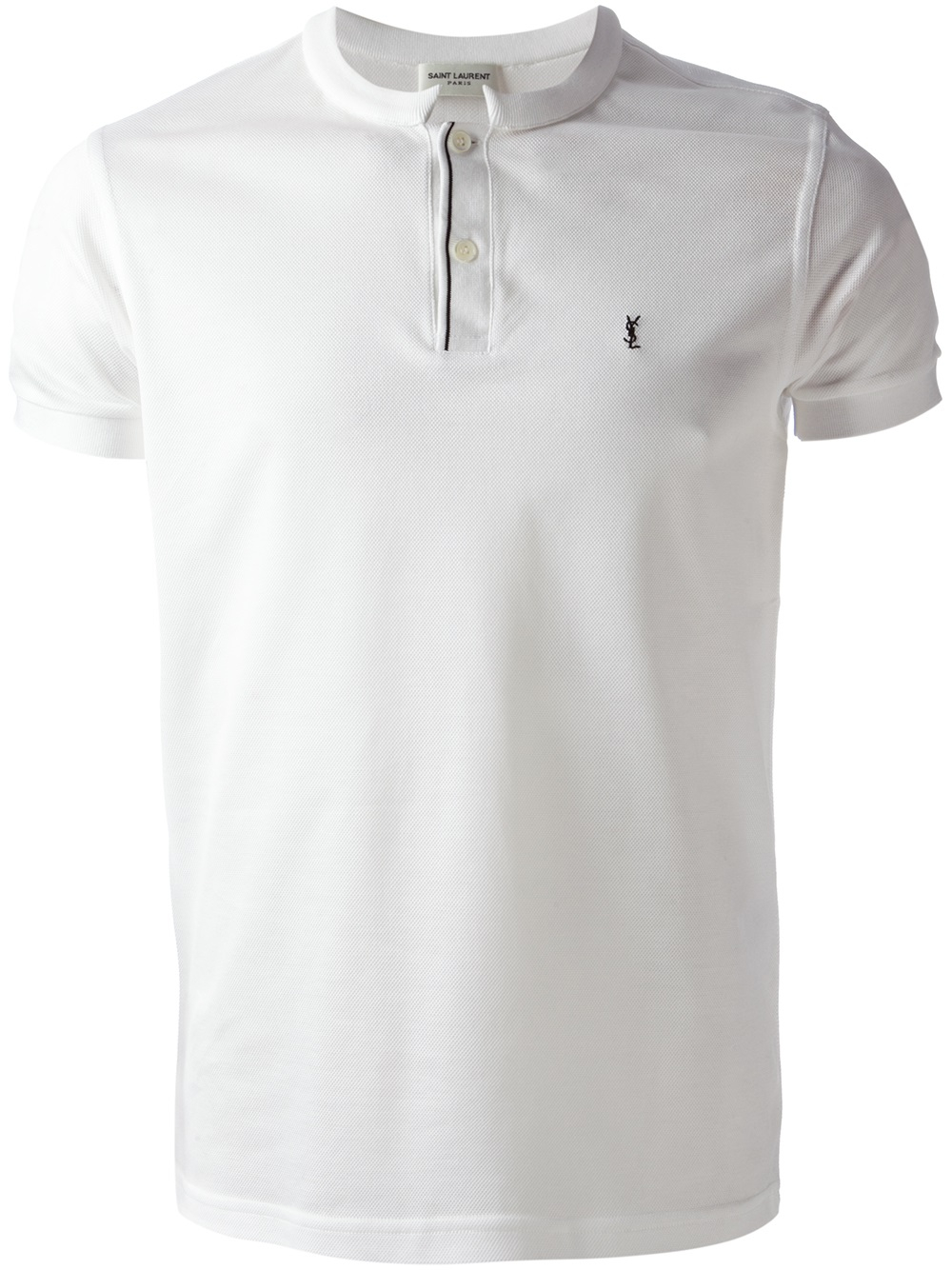 1c6e6d483f7 Saint Laurent Band Collar Polo Shirt in White for Men - Lyst